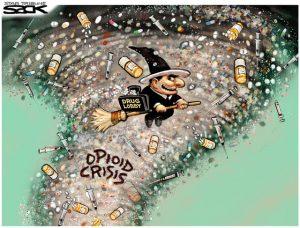 Steve Sack cartoon opiod crisis tornado