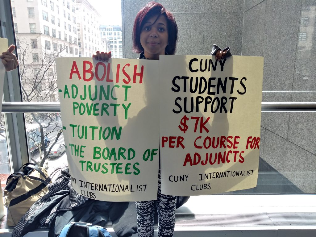 Students and faculty join forces to protest adjunct wages