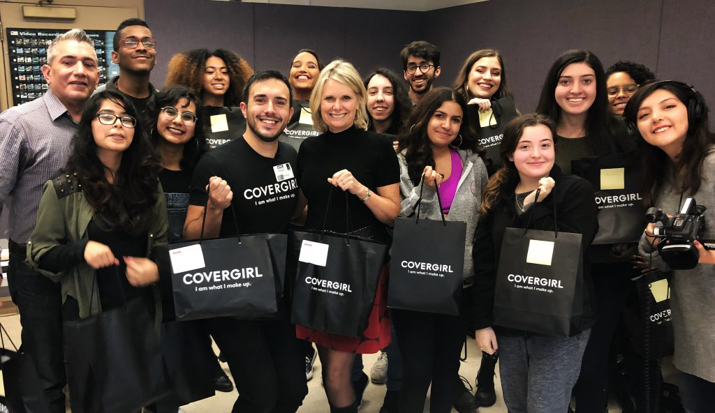Students in News Video Reporting were treated to a make-up demonstration from Glam Squad's Nick Scalzo as well as cosmetics from Cover Girl.  Photo by Markus Martinez.