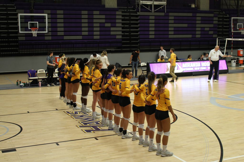 Moments before the Hunter Hawks faced number two-ranked Johnson & Wales University. Photo by Alonso Espinoza.