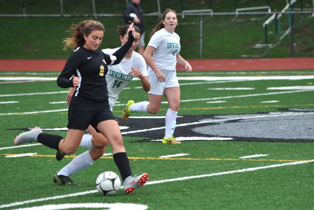 Abirizk on the offensive when she played for Hastings-on-Hudson High School. Photo provided by Abirizk