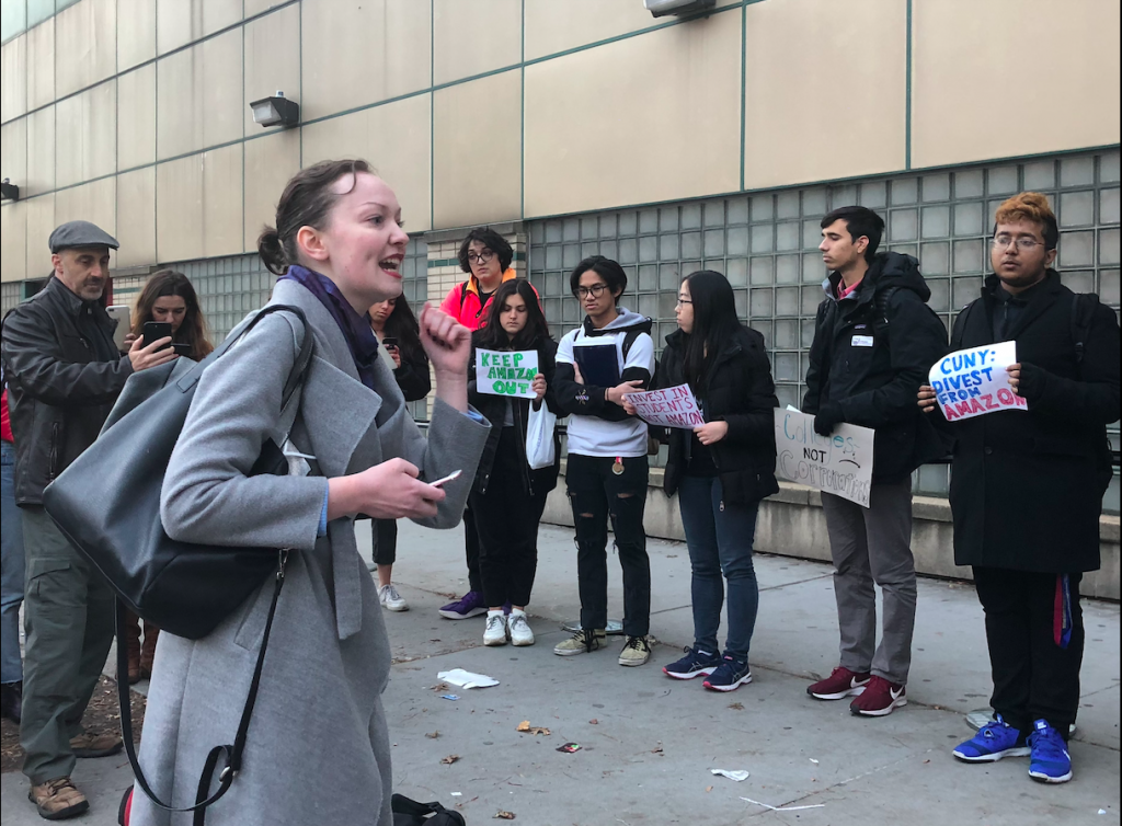 Members of CRAASH and activist Corinne Greene rally outside a Board of Trustees meeting held at LaGuardia Community College