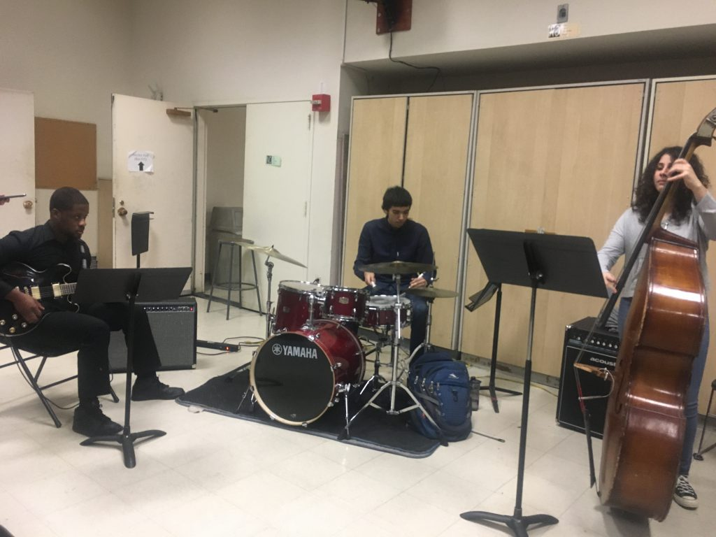 Hunter students jamming in preparation for an in-class recital.