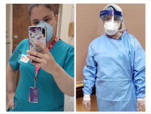 Now that Farr is taking extra precautions, she wears a full protective gear (on right) over her former work uniform.